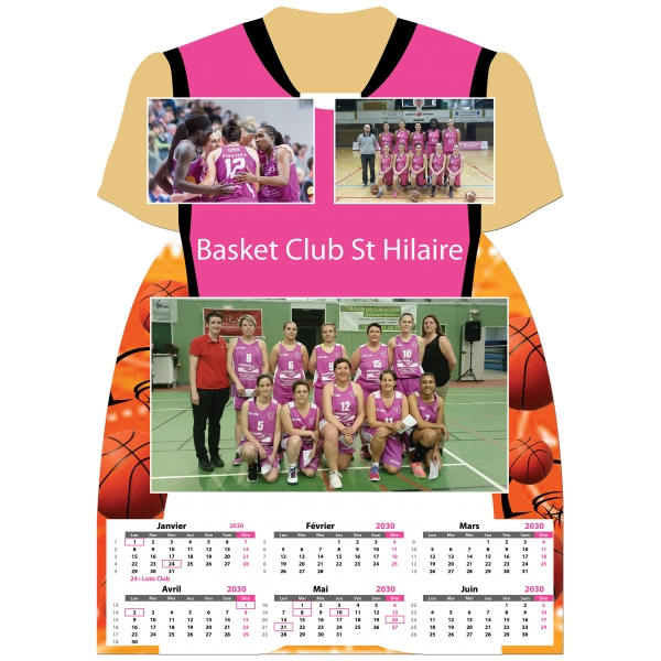 Calendrier photo Maillot de Basket