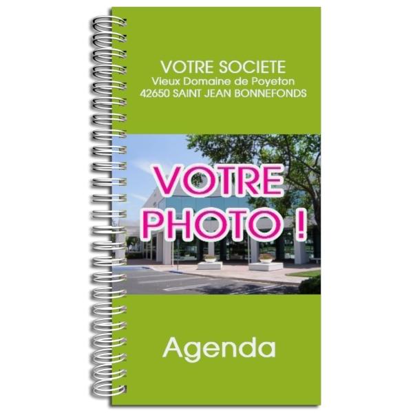 Agenda publicitaire personnalisé VERT (9 x 17 cm)