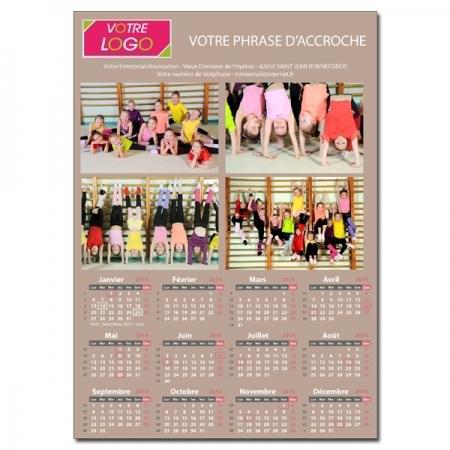 Calendrier photo personnalisé pour association ou entreprise une page TAUPE A5 ou A4