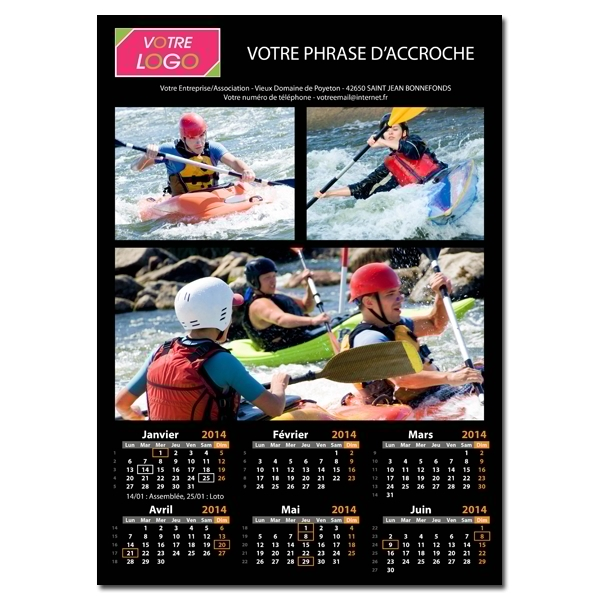 Calendrier photo noir XL RECTO/VERSO (A3, A2, A1 ou A0)
