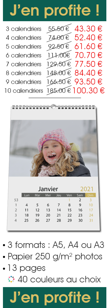 Offre Pack Calendrier Mural Classique