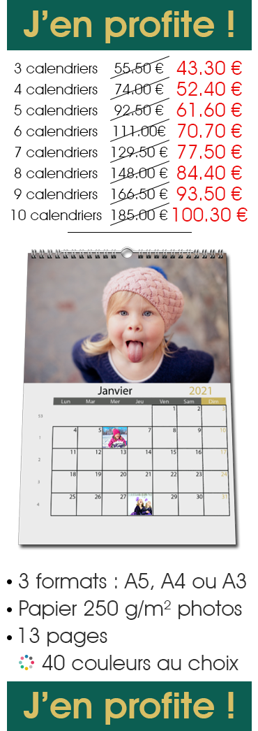Offre Pack Calendrier Mural Photo Date